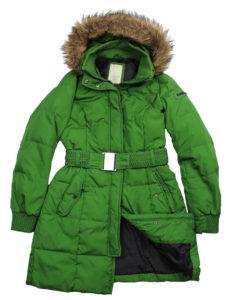 Zielona zimowa kurtka z futerkiem